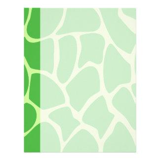 Modelo del estampado de girafa en verde de la selv membretes personalizados