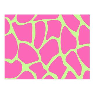 Modelo del estampado de girafa, rosa brillante y v postales