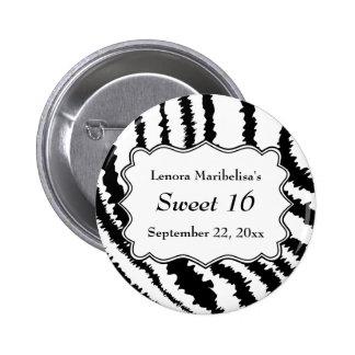 Modelo del estampado de zebra del dulce 16 pin redondo de 2 pulgadas
