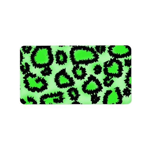 Modelo del estampado leopardo del negro y de la ve etiqueta de dirección
