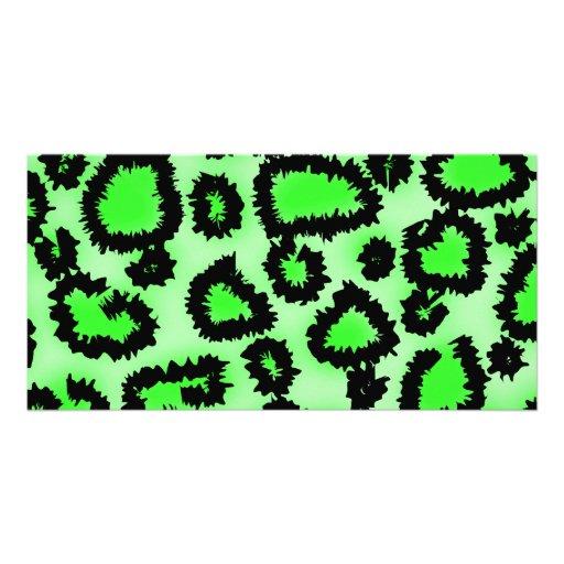 Modelo del estampado leopardo del negro y de la ve tarjetas fotograficas personalizadas