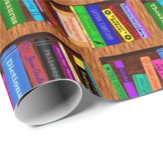 Modelo del estante de librería de la biblioteca papel de regalo