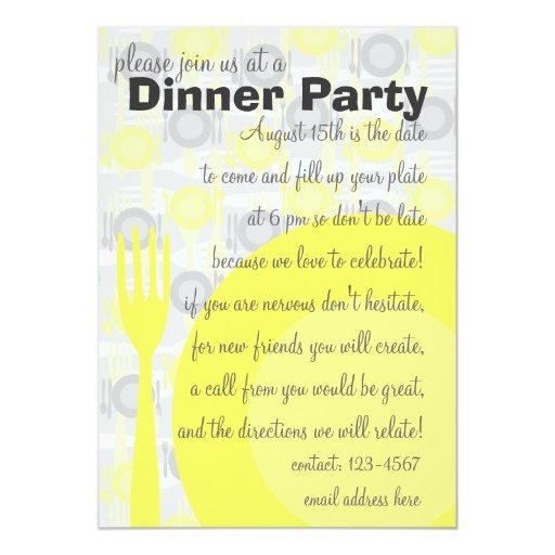 """Modelo del fiesta de cena invitación 5"""" x 7"""""""
