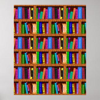Modelo del fondo del estante de la biblioteca para póster