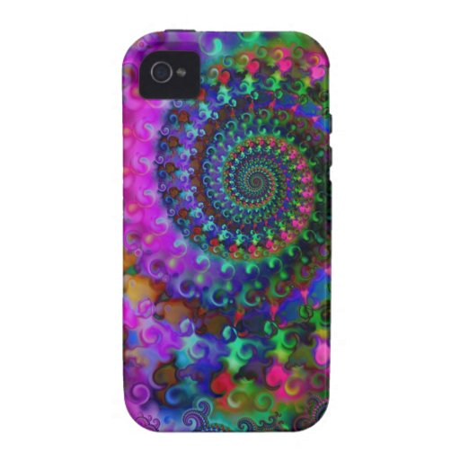 Modelo del fractal del arco iris del hippy funda iPhone 4