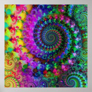 Modelo del fractal del arco iris del hippy póster