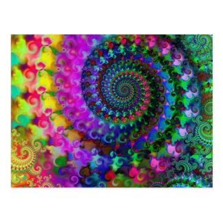 Modelo del fractal del arco iris del hippy tarjeta postal