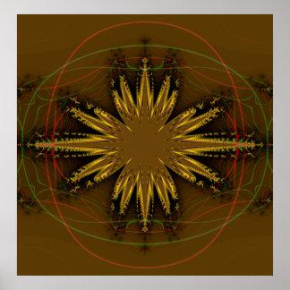 Modelo del fractal del nativo americano poster