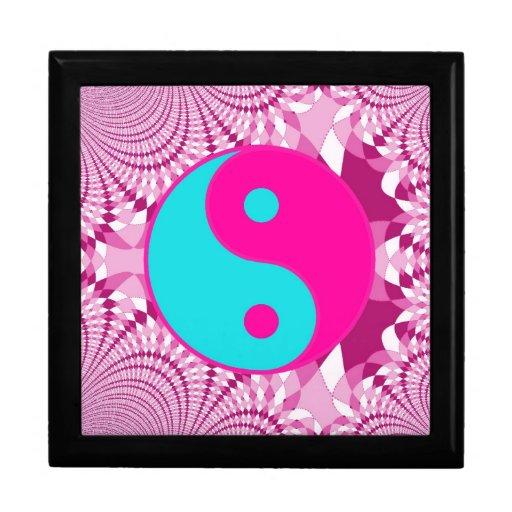 Modelo del fractal del símbolo de Yin Yang Cajas De Regalo