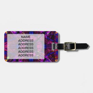 Modelo del fractal en púrpura etiqueta de equipaje