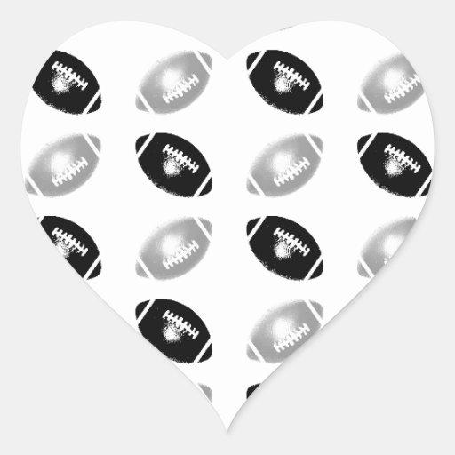 Modelo del fútbol del negro y de los gris plateado calcomanías de corazones personalizadas