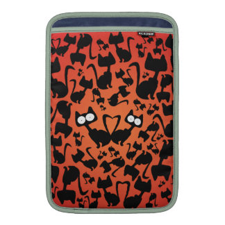Modelo del gato de la magia negra en un fondo rojo fundas macbook air