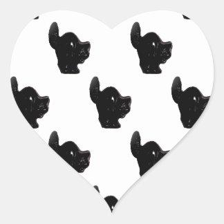 Modelo del gato negro de Halloween Pegatina En Forma De Corazón