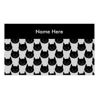 Modelo del gato negro en gris claro. tarjetas de visita