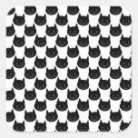 Modelo del gato negro pegatinas cuadradas personalizadas