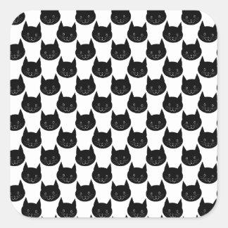 Modelo del gato negro pegatina cuadrada