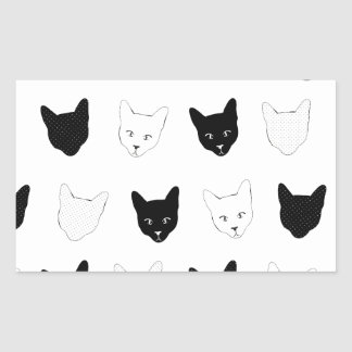 Modelo del gato pegatina rectangular