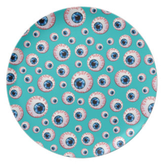Modelo del globo del ojo de la turquesa plato de cena