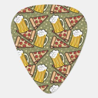 Modelo del gráfico de la cerveza y de la pizza plumilla de guitarra