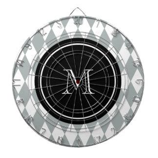 Modelo del Harlequin del blanco gris monograma ne Tabla Dardos