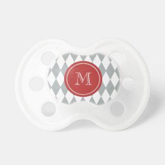 Modelo del Harlequin del blanco gris monograma ro Chupete De Bebé
