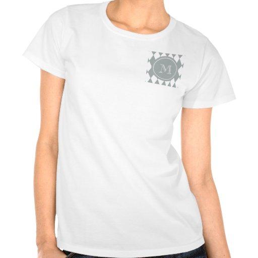 Modelo del Harlequin del blanco gris, su monograma Camisetas