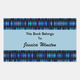 Modelo del harlequin del negro azul pegatina rectangular