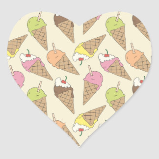 Modelo del helado pegatina en forma de corazón