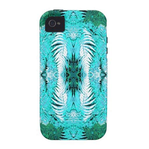 Modelo del helecho en turquesa y verde Case-Mate iPhone 4 fundas