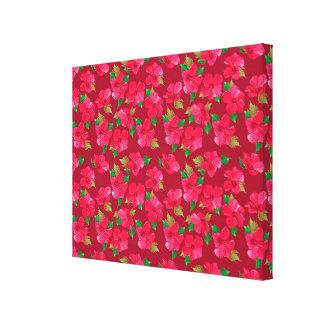 Modelo del hibisco de las rosas fuertes impresión en lona