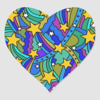 Modelo del Hippie de la estrella fugaz Pegatina En Forma De Corazón