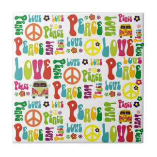Modelo del hippy del amor de la paz azulejo cuadrado pequeño