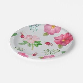 Modelo del jardín de la cadera color de rosa plato de papel de 7 pulgadas