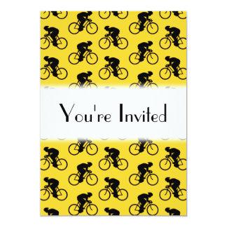 Modelo del jinete de la bicicleta. Amarillo y Invitación 12,7 X 17,8 Cm