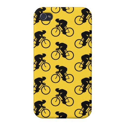 Modelo del jinete de la bicicleta. Amarillo y negr iPhone 4 Coberturas
