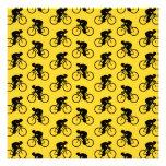 Modelo del jinete de la bicicleta. Amarillo y negr Comunicado Personalizado