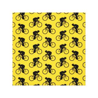 Modelo del jinete de la bicicleta. Amarillo y negr Lienzo Envuelto Para Galerías
