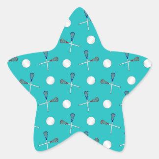 Modelo del lacrosse de la turquesa pegatina en forma de estrella