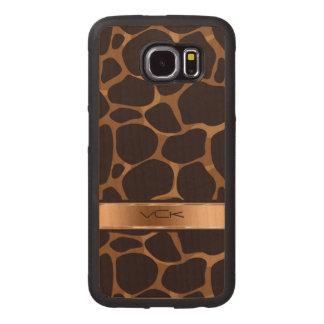 Modelo del leopardo de Brown y del cobre Funda De Madera Para Samsung Galaxy S6