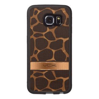 Modelo del leopardo de Brown y del cobre Funda De Madera Para Samsung Galaxy S6 Edge