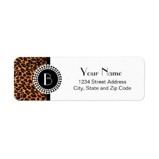 Modelo del leopardo del estampado de animales etiqueta de remitente