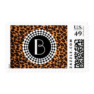Modelo del leopardo del estampado de animales sello