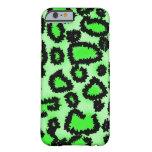 Modelo del leopardo del negro y de la verde lima funda de iPhone 6 slim