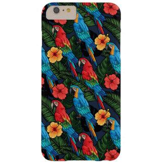 Modelo del Macaw y del hibisco Funda Barely There iPhone 6 Plus