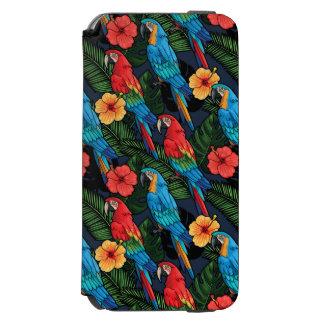 Modelo del Macaw y del hibisco Funda Billetera Para iPhone 6 Watson