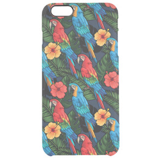 Modelo del Macaw y del hibisco Funda Clear Para iPhone 6 Plus