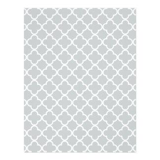 Modelo del marroquí de Quatrefoil del blanco gris Tarjetas Publicitarias
