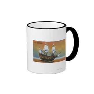 Modelo del Mayflower en la opinión de Pasillo del  Taza A Dos Colores