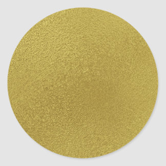 Modelo del metal del oro pegatina redonda