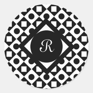Modelo del monograma del círculo del diamante de pegatina redonda